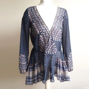 Free People Sheer Cross Over Tunic w/Back Tie